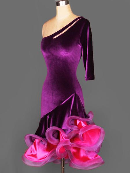 Milanoo Dance Costumes Latin Dancer Dresses Velour One Shoulder Half Sleeve Backless Two Tone Irregular Ruffles Dancing Clothes Hallloween