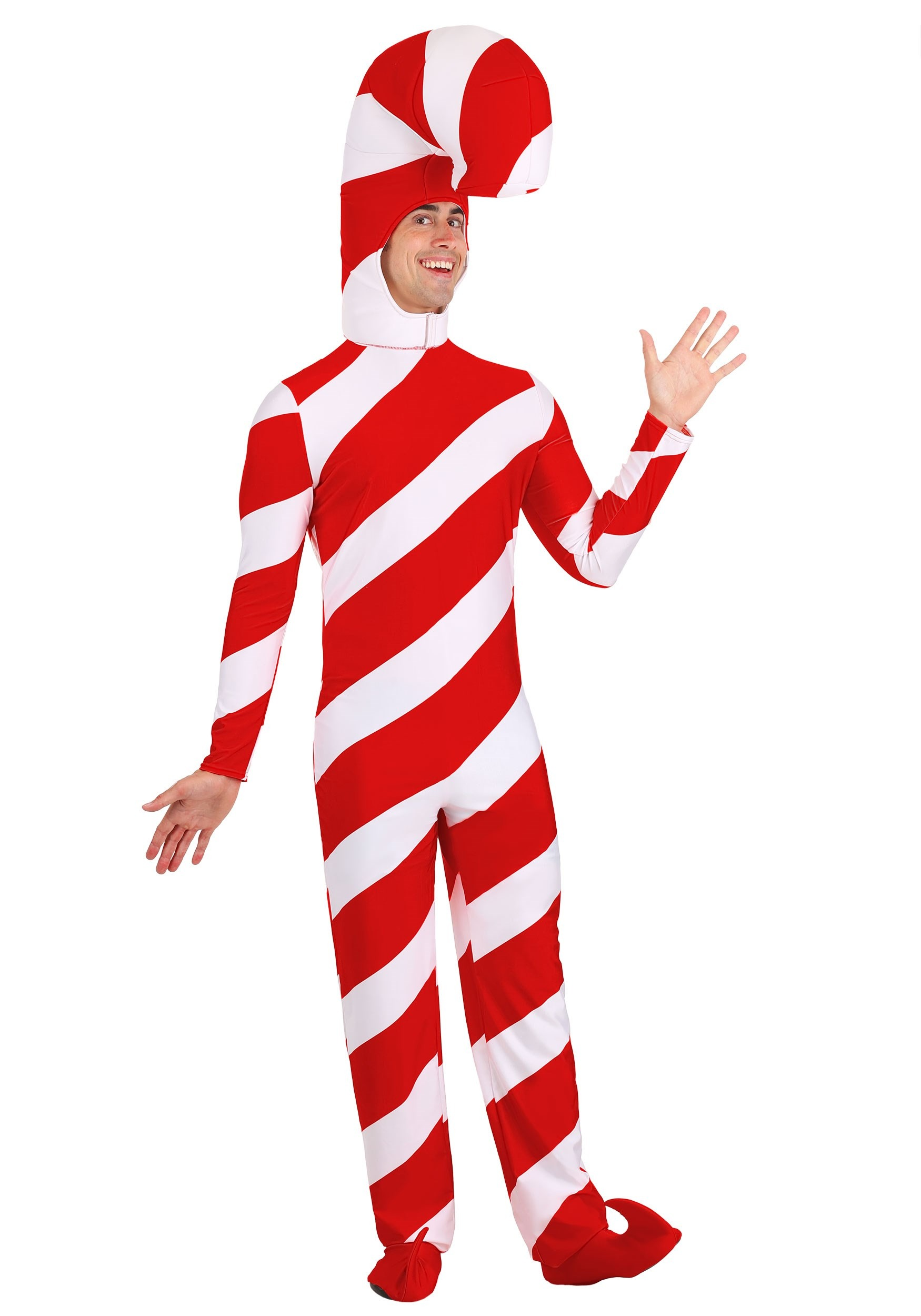 Candy Cane Bodysuit Costume For Adults