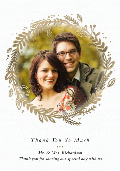 Wedding Thank You 5x7 Cards, Premium Cardstock 120lb with Scalloped Corners, Card & Stationery -Thank You Gold Wreath