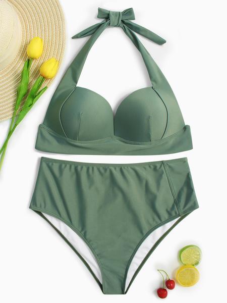 Yoins Light Green Halter V-neck Padded Design High-waist Bikini Set