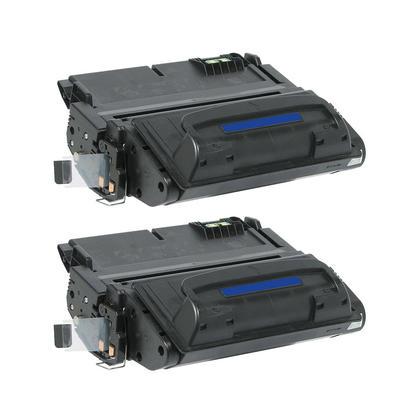 Compatible HP 42A Q5942A Black Toner Cartridge - Economical Box - 2/Pack