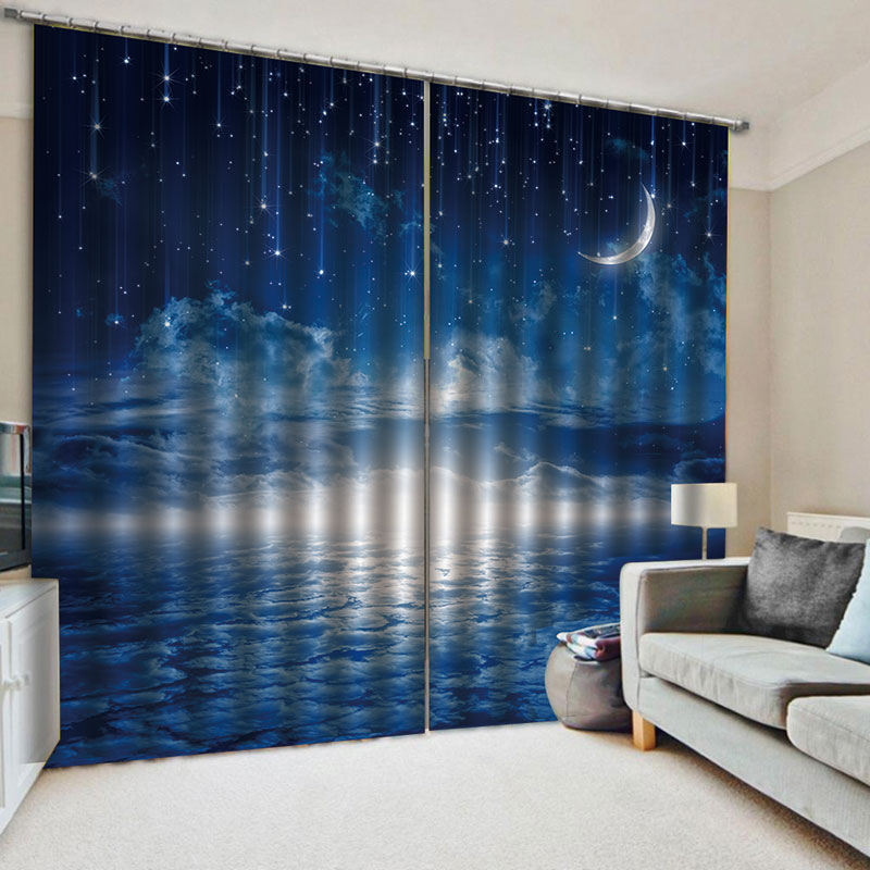 3D Night Scenery Blackout 2 Panels Window Curtains for Living Room Bedroom No Pilling No Fading No off-lining Blocks Out 80% of Light and 90% of UV Ra