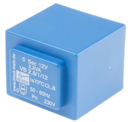 Block 12V ac 1 Output Through Hole PCB Transformer, 2.8VA