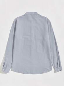Men Stand Collar Button Front Shirt