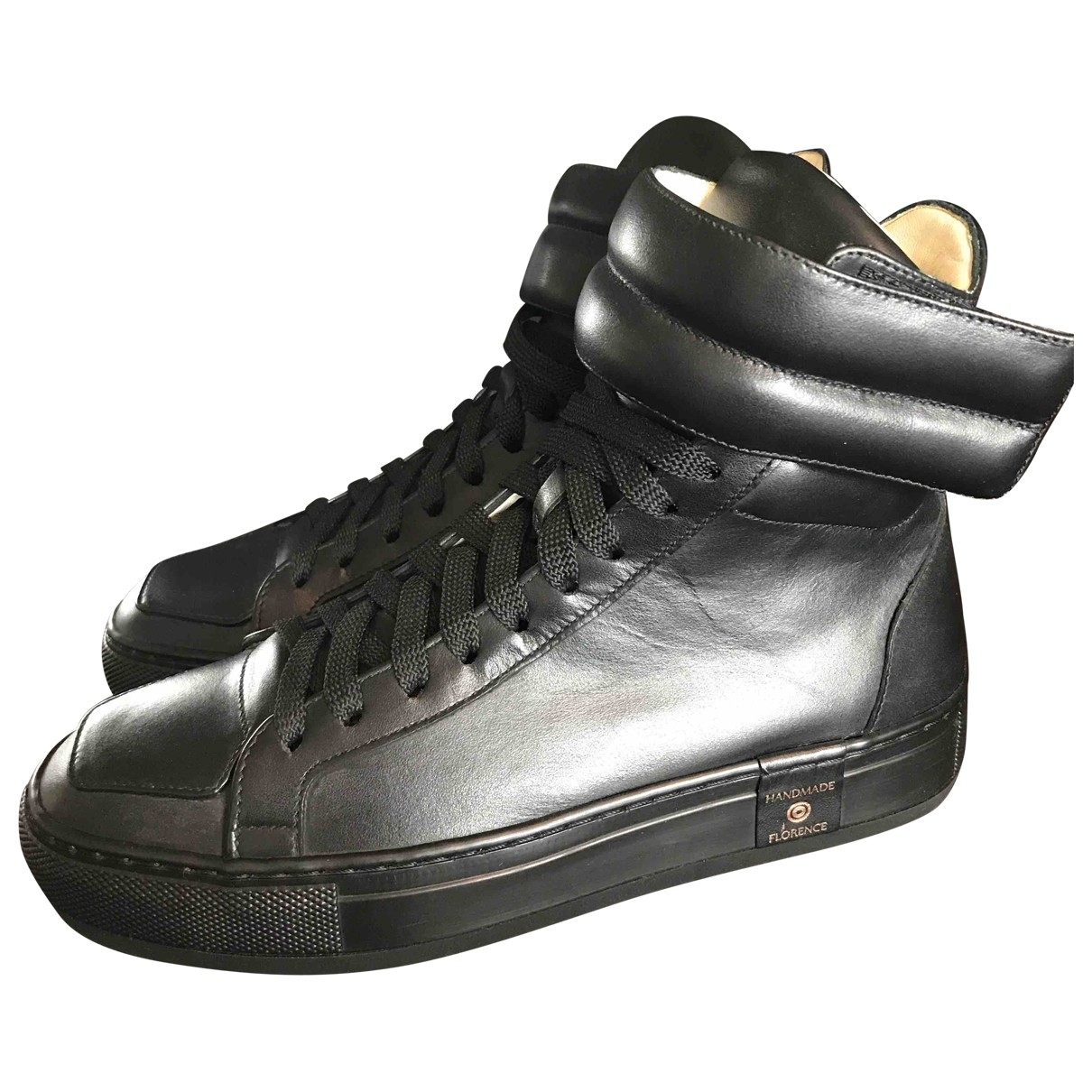 Non Signé / Unsigned \N Black Leather Trainers for Men 39 EU