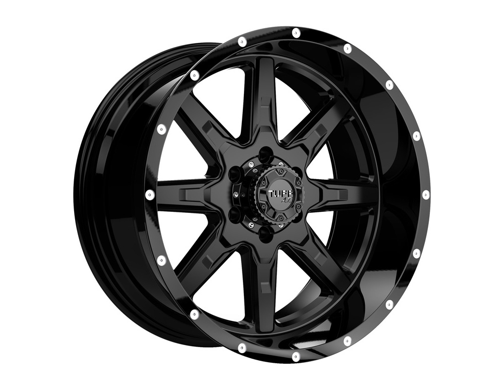 TUFF T15 Wheel 16x8 6x139.70|6x5.5 -13mm Satin Black w/ Milled Dimples