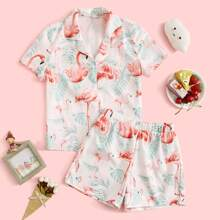 Girls Flamingo & Tropical Print Top & Shorts PJ Set