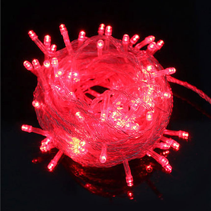 10M Battery Powered 100 LED Starry Fairy String Light Lamp for Festival Party Decoration - Red Light
