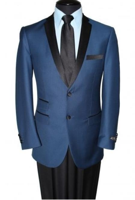 Men's Notch Lapel Two Button Navy Blue Blazer Jacket