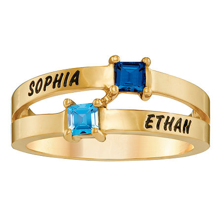 Personalized Engraved Split Shank Birthstone Ring, 9 , Yellow