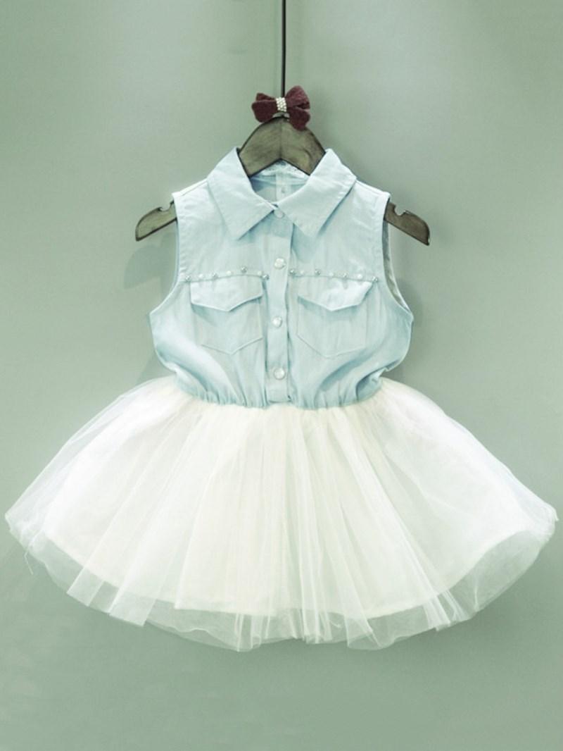 Ericdress Mesh Color Block Sleeveless A-Line Girl's Casual Dress