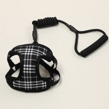 1pc Dog Plaid Harness & 1pc Leash