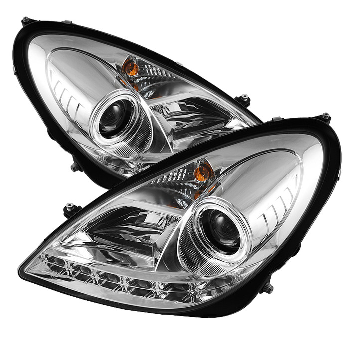 Spyder Auto PRO-YD-MBSLK05-HID-DRL-C Chrome DRL Projector Headlights with High H1 Lights Included Mercedes Benz SLK280 with Xenon|HID Lights 06-08