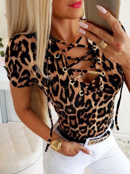 Milanoo Short Sleeves Tees Leopard Print Jewel Neck Lace Up Women T Shirt