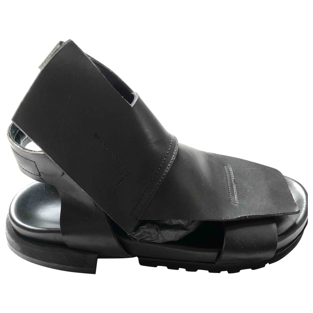 Cinzia Araia \N Black Leather Sandals for Women 40 EU