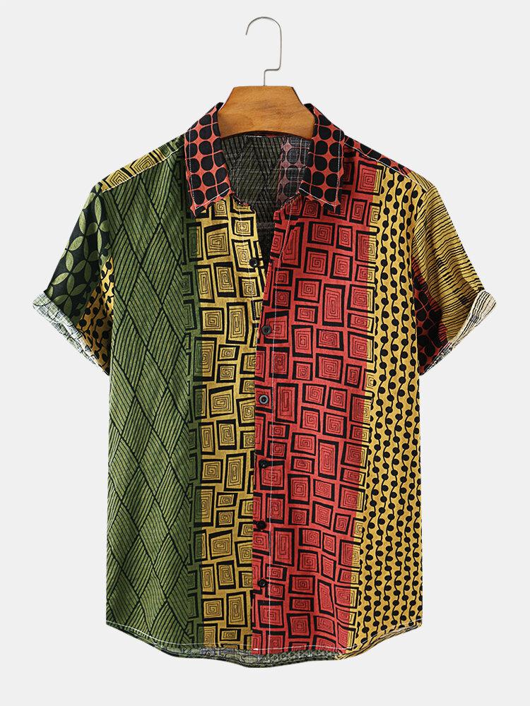 Mens Geometric Ethnic Printed Cotton Breathable Short Sleeve Shirt