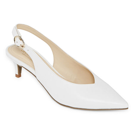 Liz Claiborne Womens Quebec Buckle Pointed Toe Kitten Heel Pumps, 8 1/2 Medium, White