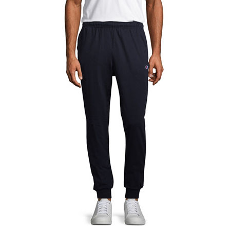 Champion Mens Closed-Bottom Jersey Pants, Large , Blue