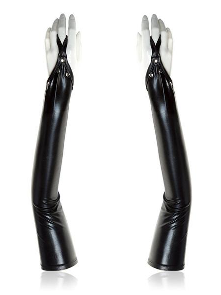 Milanoo Women Zentai Gloves Shiny Metallic Patent Black Sexy Glove