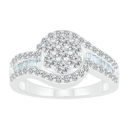 Womens 1 CT. T.W. Genuine White Diamond 10K White Gold Oval Cocktail Ring, 4 , No Color Family