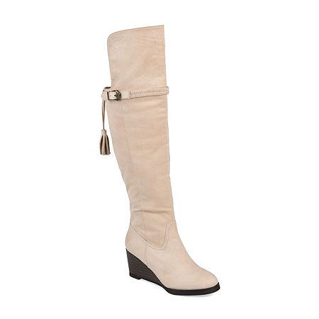 Journee Collection Womens Jezebel Wedge Heel Over the Knee Boots, 7 Medium, Gray