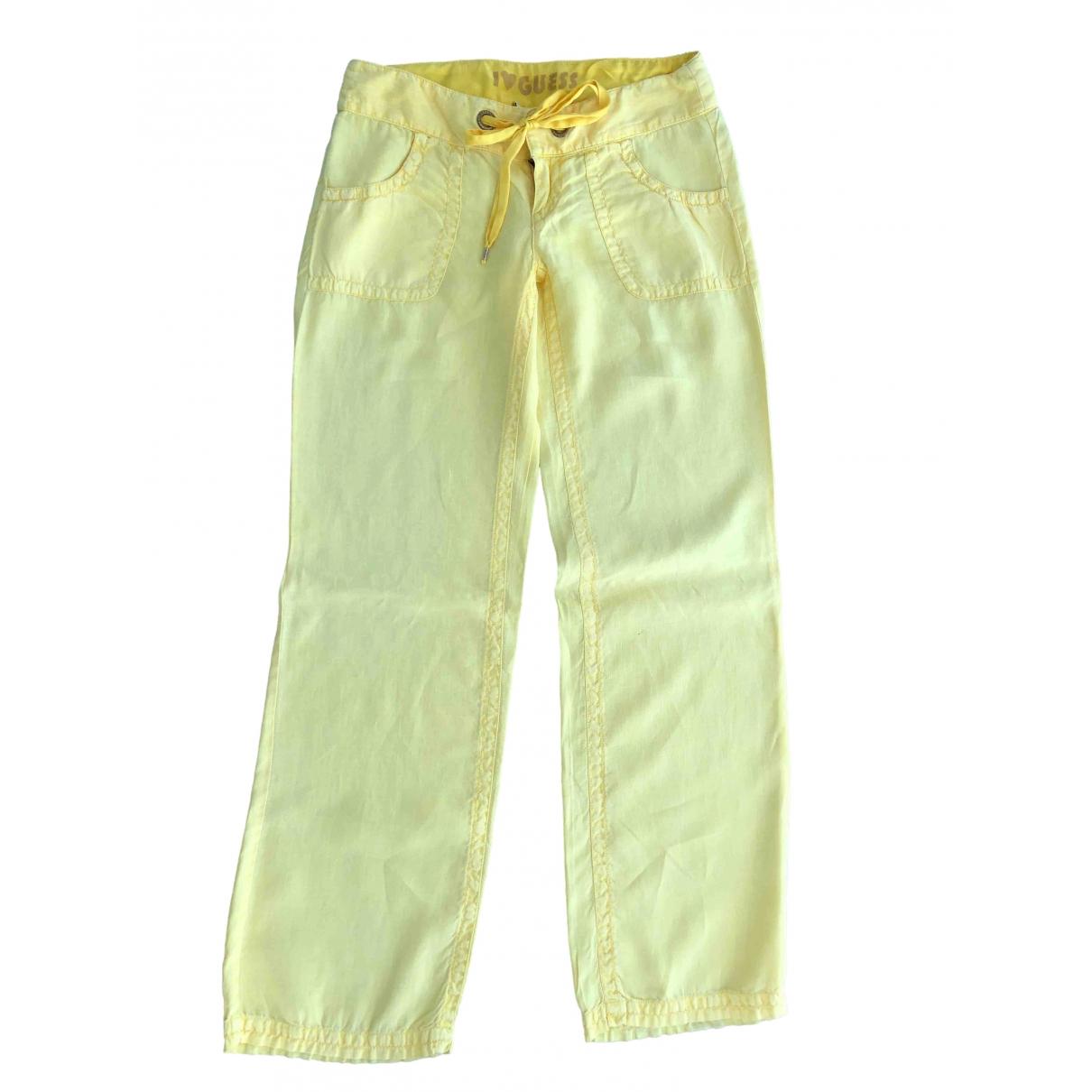 Guess \N Yellow Linen Trousers for Women M International