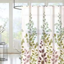 Leaf Print Shower Curtain With 12hooks