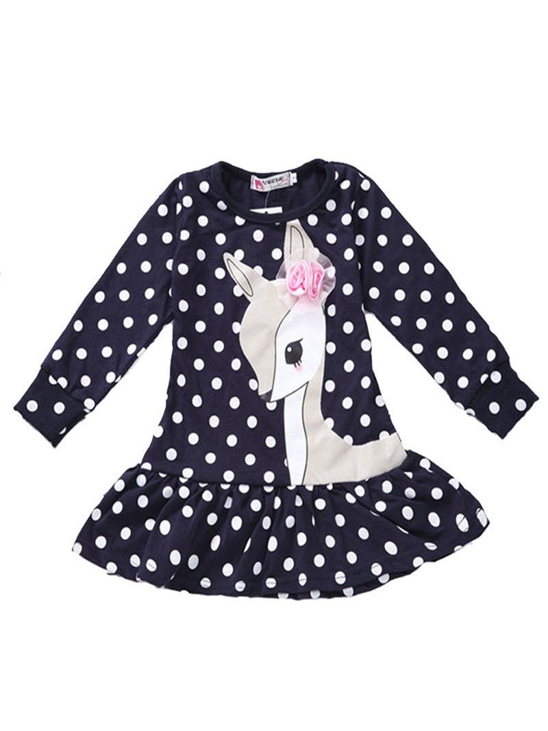 Ericdress Polka Dots Cute Deer Pattern Falbala Baby Girls Dress