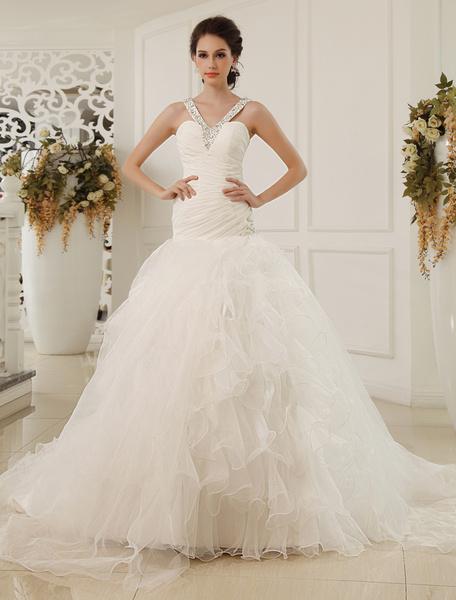 Milanoo Vestido de novia de chifon de color marfil con escote de corazon de estilo de estilo atractivo