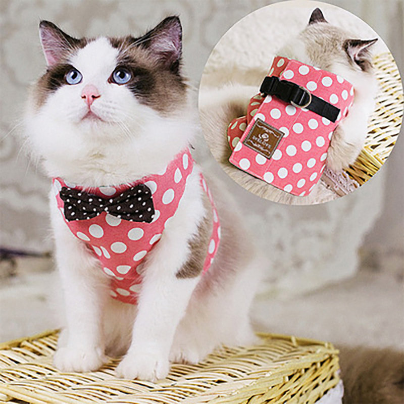 Pet Cat Bow Tie Vest Harness Kitten Stylish Harness with D Ring