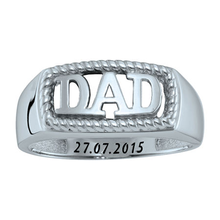 Personalized Men's Dad Ring, 13 , White