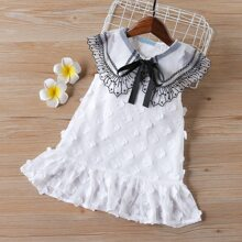 Toddler Girls Contrast Embroidered Mesh Tie Front Dress