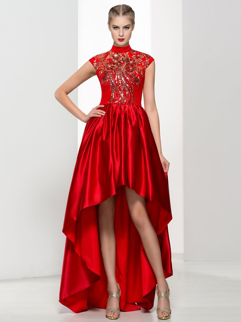 Ericdress High Neck Cap Sleeves Appliques Beading Asymmetry Prom Dress