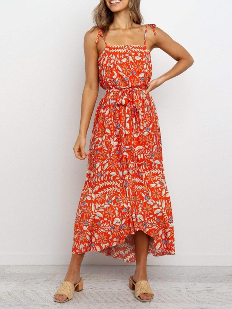 Ericdress Square Neck Mid-Calf Print Spaghetti Strap Casual Dress
