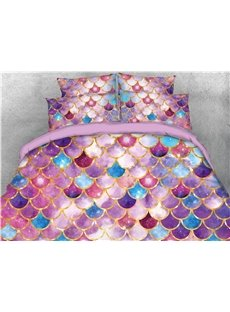 Colorful Fish Scale Roof Tiles Printed 4-Piece 3D Bedding Sets/Duvet Covers