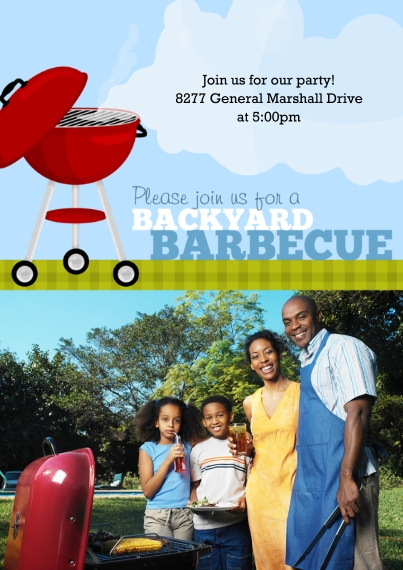 Party Invitations 5x7 Cards, Premium Cardstock 120lb with Rounded Corners, Card & Stationery -Backyard Grillin'