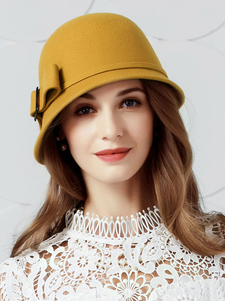 Milanoo Vintage Cloche Hats Yellow Bows Wool Winter Hat For Women