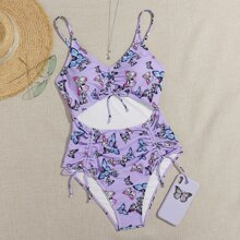 Butterfly Print Drawstring One Piece Swimsuit
