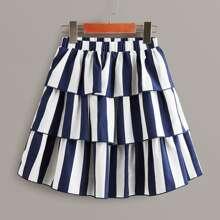 Girls Striped Layered Ruffle Skirt
