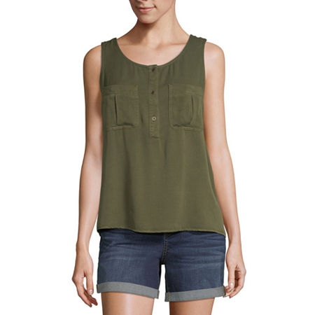 a.n.a Womens Round Neck Sleeveless Tank Top, Large , Green
