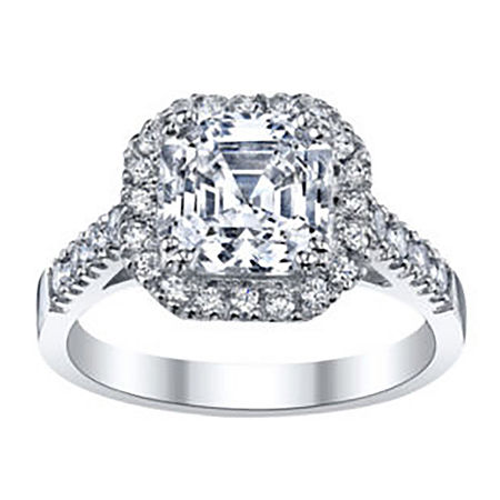 DiamonArt Asscher-Cut Cubic Zirconia Sterling Silver Ring, 9 , No Color Family