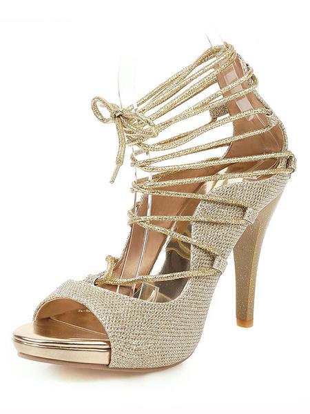 Milanoo High Heels Women Lace Up Peep Toe Pumps Stiletto Heel Plus Size Shoes