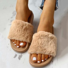 Open Toe Fluffy Decor Slippers