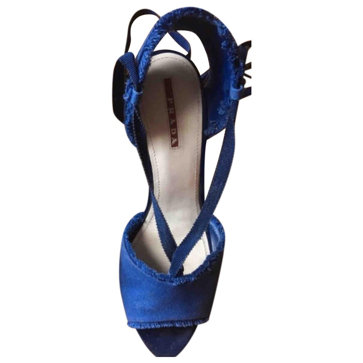 Prada \N Blue Cloth Sandals for Women 38 EU