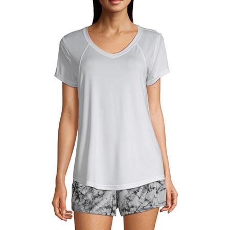 Xersion Womens V Neck Short Sleeve T-Shirt, X-large , White