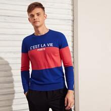 Men Slogan and Colorblock Sweater