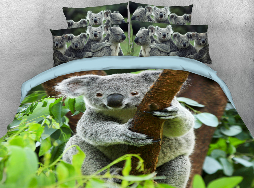 Koala 4-piece Soft No-fading Bedding Sets Durable 3D Animal Print Bedding Zipper Duvet Cover with Non-slip Ties