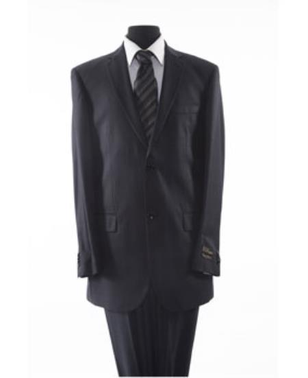 Mens 2 Piece 2 Button Black Suit