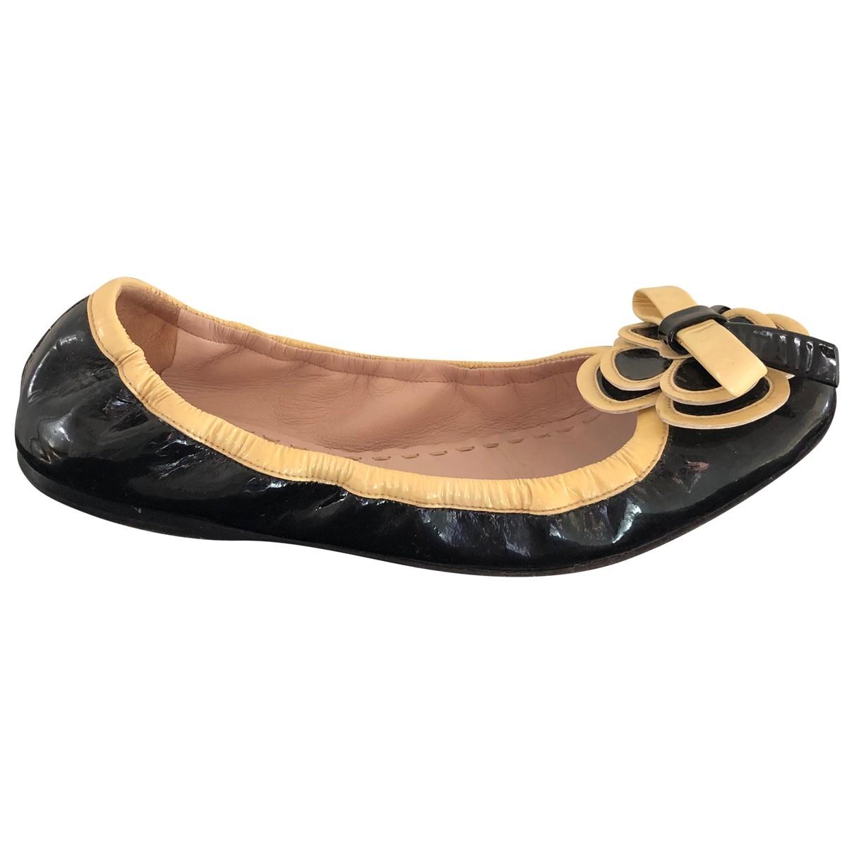 Miu Miu \N Black Leather Ballet flats for Women 36.5 EU