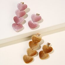 4pcs Heart Decor Hair Clip